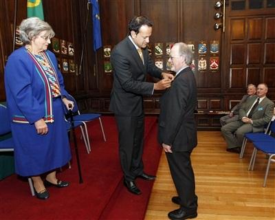 Dr. Nollaig Ó Muraíle RIA CIOM is inducted into the Order of Clans of Ireland by Minister Varadkar