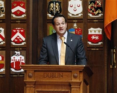 Minister Varadkar Addresses the Clans of Ireland in the Oak Room of the Mansion House